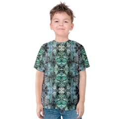 Green Black Gothic Pattern Kid s Cotton Tee by Costasonlineshop