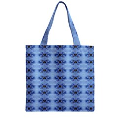Pastel Blue Flower Pattern Zipper Grocery Tote Bags by Costasonlineshop
