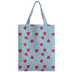 Valentine Hearts Pattern Light Blue Zipper Classic Tote Bags by ArigigiPixel