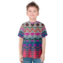 Waves And Other Shapes Kid s Cotton Tee by LalyLauraFLM