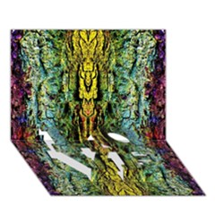 Abstract, Yellow Green, Purple, Tree Trunk Love Bottom 3d Greeting Card (7x5)  by Costasonlineshop