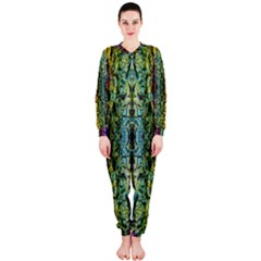 Abstract, Yellow Green, Purple, Tree Trunk Onepiece Jumpsuit (ladies)  by Costasonlineshop