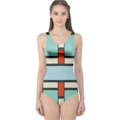Vertical And Horizontal Rectangles Women s One Piece Swimsuit by LalyLauraFLM