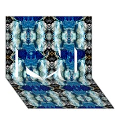 Royal Blue Abstract Pattern I Love You 3d Greeting Card (7x5)  by Costasonlineshop