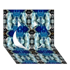 Royal Blue Abstract Pattern Heart 3d Greeting Card (7x5)  by Costasonlineshop
