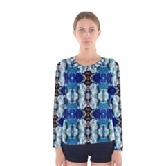 Royal Blue Abstract Pattern Women s Long Sleeve T Shirts by Costasonlineshop