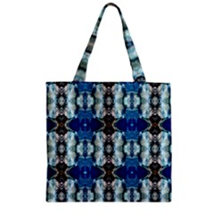 Royal Blue Abstract Pattern Zipper Grocery Tote Bags by Costasonlineshop