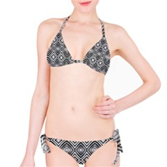 Black White Diamond Pattern Bikini Set by Costasonlineshop