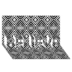 Black White Diamond Pattern Believe 3d Greeting Card (8x4)  by Costasonlineshop