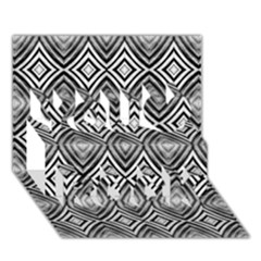 Black White Diamond Pattern You Rock 3d Greeting Card (7x5)