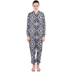Black White Diamond Pattern Hooded Jumpsuit (ladies)  by Costasonlineshop