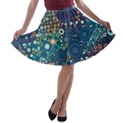 Blue Bubbles A Line Skater Skirt by KirstenStar