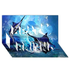Awersome Marlin In A Fantasy Underwater World Best Friends 3d Greeting Card (8x4)  by FantasyWorld7