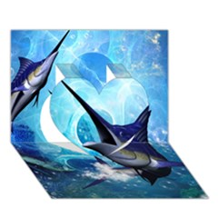 Awersome Marlin In A Fantasy Underwater World Heart 3d Greeting Card (7x5)  by FantasyWorld7