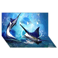 Awersome Marlin In A Fantasy Underwater World Twin Hearts 3d Greeting Card (8x4)  by FantasyWorld7