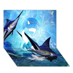 Awersome Marlin In A Fantasy Underwater World Ribbon 3d Greeting Card (7x5)  by FantasyWorld7