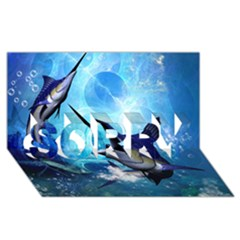 Awersome Marlin In A Fantasy Underwater World Sorry 3d Greeting Card (8x4)  by FantasyWorld7