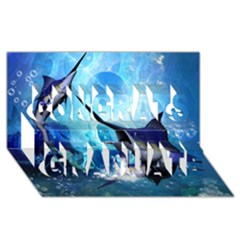 Awersome Marlin In A Fantasy Underwater World Congrats Graduate 3d Greeting Card (8x4)