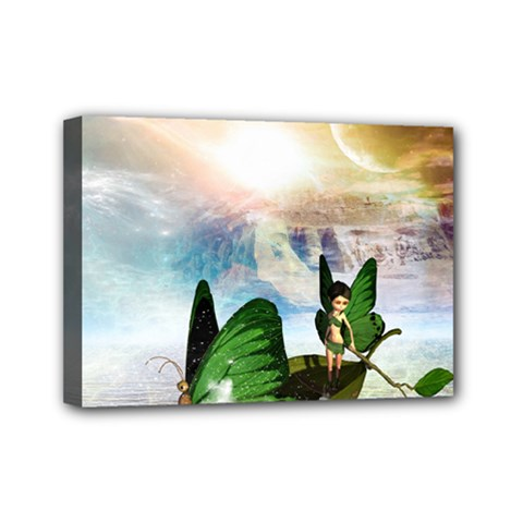 Cute Fairy In A Butterflies Boat In The Night Mini Canvas 7  X 5  by FantasyWorld7