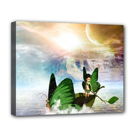 Cute Fairy In A Butterflies Boat In The Night Deluxe Canvas 20  X 16   by FantasyWorld7
