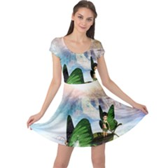 Cute Fairy In A Butterflies Boat In The Night Cap Sleeve Dresses by FantasyWorld7