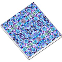 Elegant Turquoise Blue Flower Pattern Small Memo Pads by Costasonlineshop