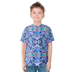Elegant Turquoise Blue Flower Pattern Kid s Cotton Tee by Costasonlineshop