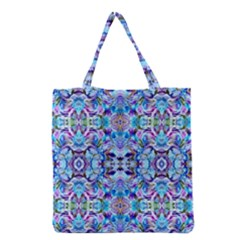 Elegant Turquoise Blue Flower Pattern Grocery Tote Bags by Costasonlineshop