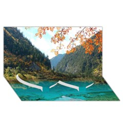 Jiuzhaigou Valley 3 Twin Heart Bottom 3d Greeting Card (8x4)  by trendistuff