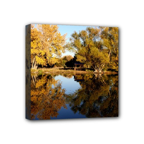 Autumn Lake Mini Canvas 4  X 4  by trendistuff