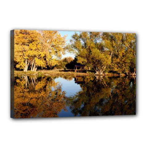 Autumn Lake Canvas 18  X 12  by trendistuff