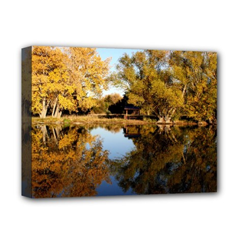Autumn Lake Deluxe Canvas 16  X 12   by trendistuff