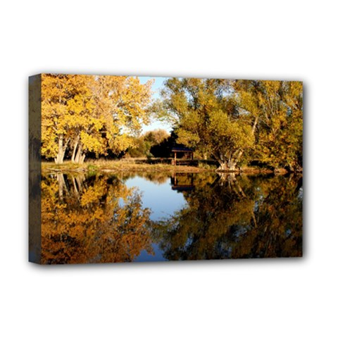 Autumn Lake Deluxe Canvas 18  X 12   by trendistuff