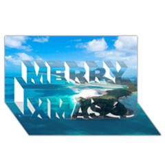 Whitehaven Beach 2 Merry Xmas 3d Greeting Card (8x4)