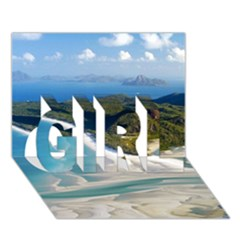 Whitehaven Beach 1 Girl 3d Greeting Card (7x5)  by trendistuff