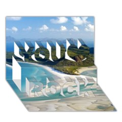 Whitehaven Beach 1 You Rock 3d Greeting Card (7x5)  by trendistuff