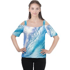 Ocean Wave 1 Women s Cutout Shoulder Tee by trendistuff