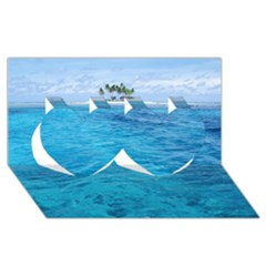Ocean Island Twin Hearts 3d Greeting Card (8x4)  by trendistuff