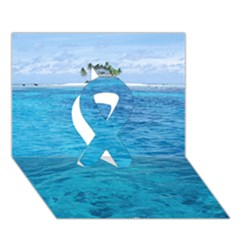 Ocean Island Ribbon 3d Greeting Card (7x5)