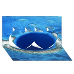 Great Blue Hole 2 Twin Hearts 3d Greeting Card (8x4)  by trendistuff