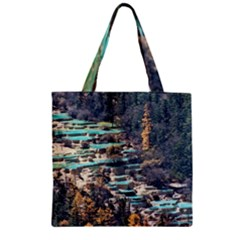 Huanglong Pools Zipper Grocery Tote Bags by trendistuff