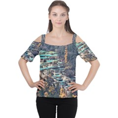 Huanglong Pools Women s Cutout Shoulder Tee by trendistuff