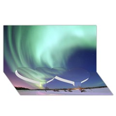 Aurora Borealis Twin Heart Bottom 3d Greeting Card (8x4)  by trendistuff