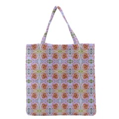 Pink Light Blue Pastel Flowers Grocery Tote Bags by Costasonlineshop