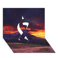 San Gabriel Mountain Sunset Ribbon 3d Greeting Card (7x5)