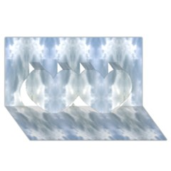 Ice Crystals Abstract Pattern Twin Hearts 3d Greeting Card (8x4)  by Costasonlineshop
