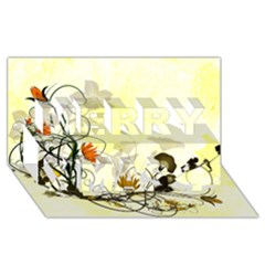 Wonderful Flowers With Leaves On Soft Background Merry Xmas 3d Greeting Card (8x4)  by FantasyWorld7