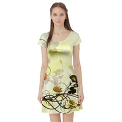 Wonderful Flowers With Leaves On Soft Background Short Sleeve Skater Dresses by FantasyWorld7