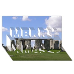 Stonehenge Merry Xmas 3d Greeting Card (8x4)  by trendistuff