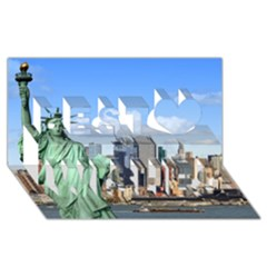 Ny Liberty 1 Best Wish 3d Greeting Card (8x4)